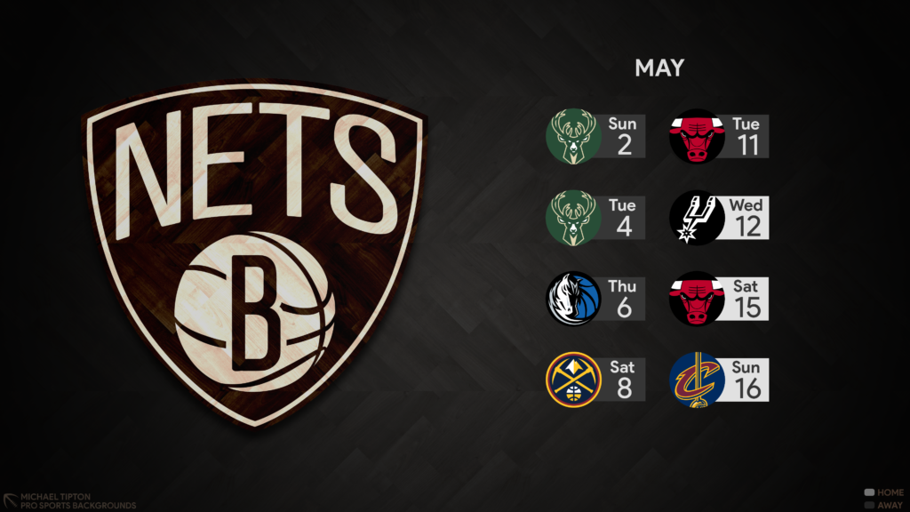 Brooklyn Nets 2021 NBA Desktop Schedule Wallpaper 4K printable 3840x2160